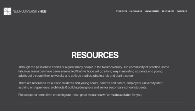 Neurodiversity Hub Website screenshot