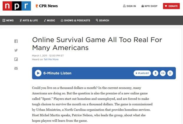 Screen capture of NPR article