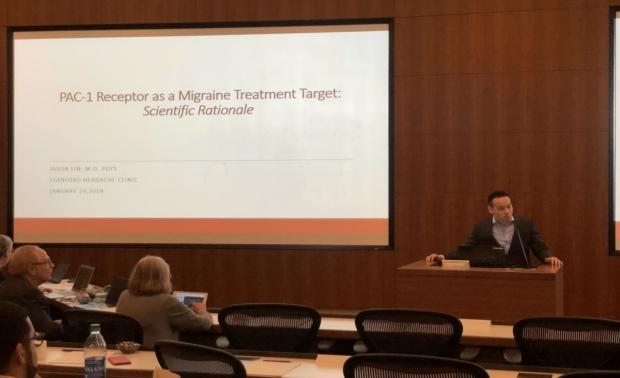 Jason Lin, MD (Class of '19) presenting at the 2019 International Headache Academy