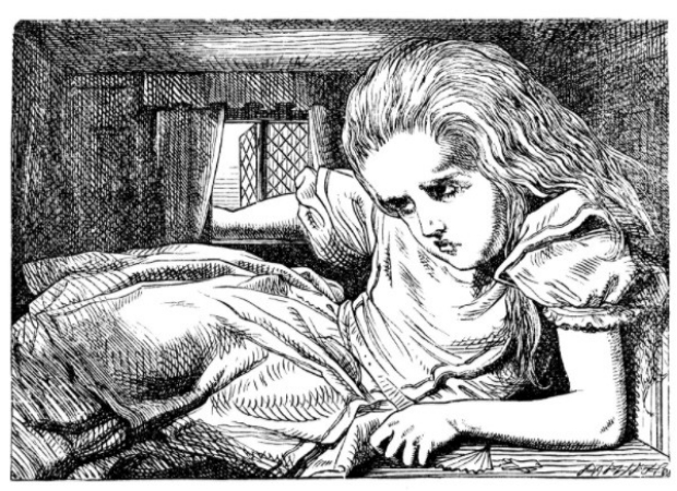 An illustration depicting the symptoms of micropsia, when things appear smaller than they are, from Lewis Carroll