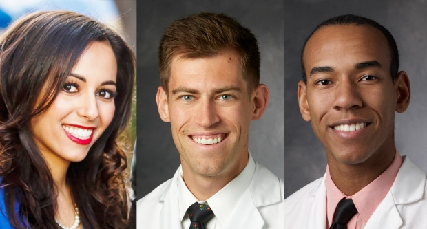 Photo composite of Sarah Ahmad, Nicholas Murray, and Harrison Hines