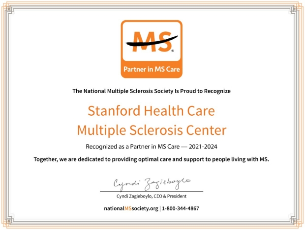 The National Multiple Sclerosis Society Partner in MS Care 2021-2024 Certificate