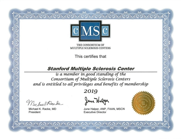 Stanford MS Center Certificate 2019