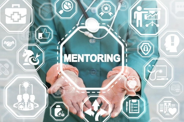 Mentoring Medical Motivation Coaching Healthcare Success Career concept. Contemporary Hospital Work. Doctor offers mentoring text icon on a virtual interface.