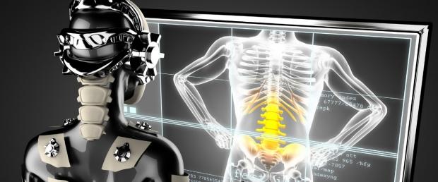 Banner image - Robot looking at hologram of spine