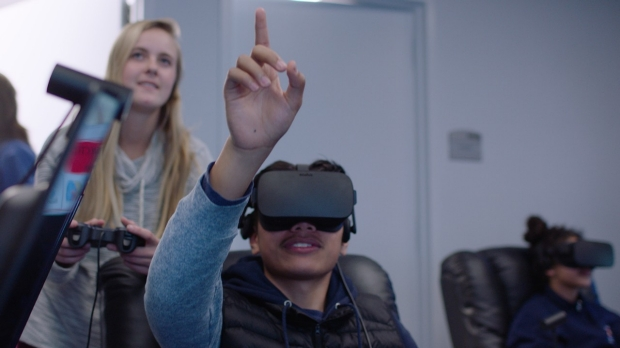 student in VR lab