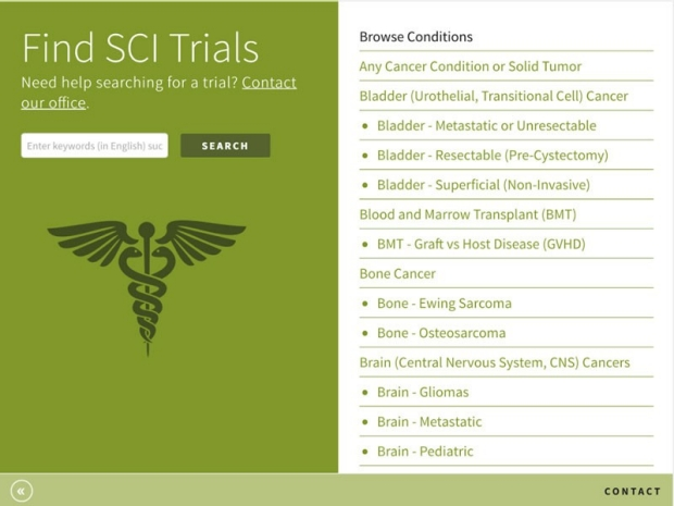 Cancer clinical trials app