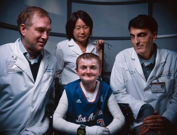 EB patient Garrett Spaulding and his Stanford doctors