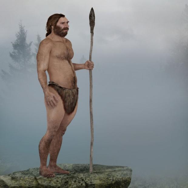 Drawing of Neanderthal man