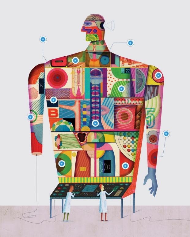 Illustration of scientists using nanotechnology on the body