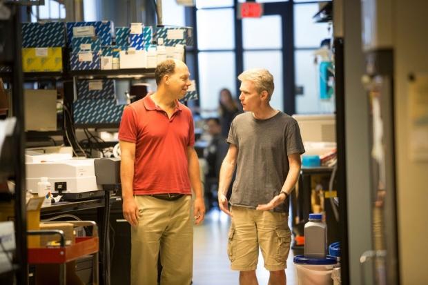 Stephen Quake and Joseph DeRisi in Quake's lab