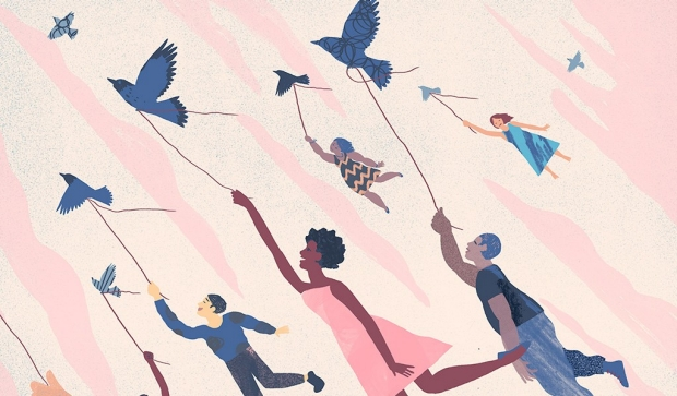Illustration of people being lifted up by strings attached to birds