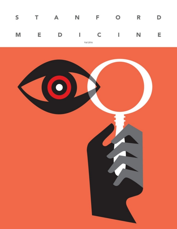 Magazine cover with an illustration of an eye looking through a magnifying glass