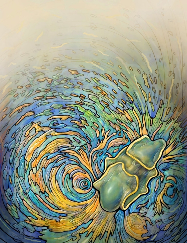 Illustration of a starfish near a vortex of water