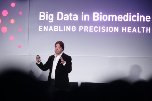 Man giving a talk at the Big Data in Biomedicine conference