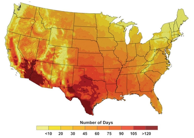 Map of the United States showing average number of days