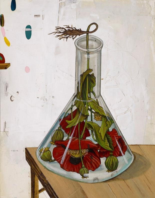 Illustration of a beaker holding flowers