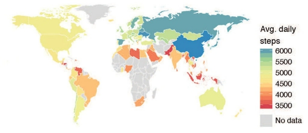 World map showing number of steps taken by people in various countries