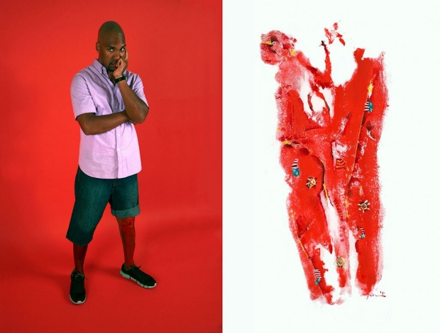 Man standing; beside him is a painting depicting the damage to his leg from a suicide bomber