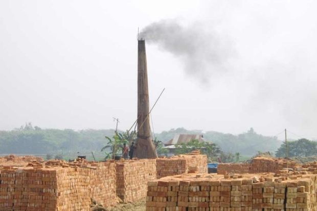 Smoke being emitted by a brick kiln