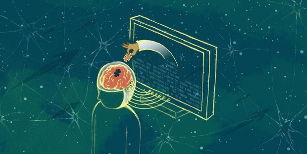 Illustration of a computer reaching into a brain