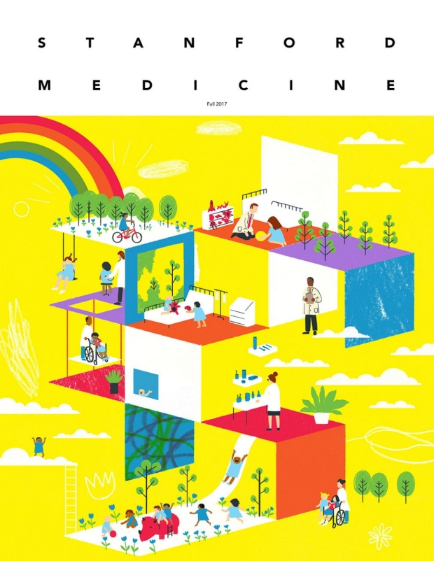 Colorful illustration of a children's hospital