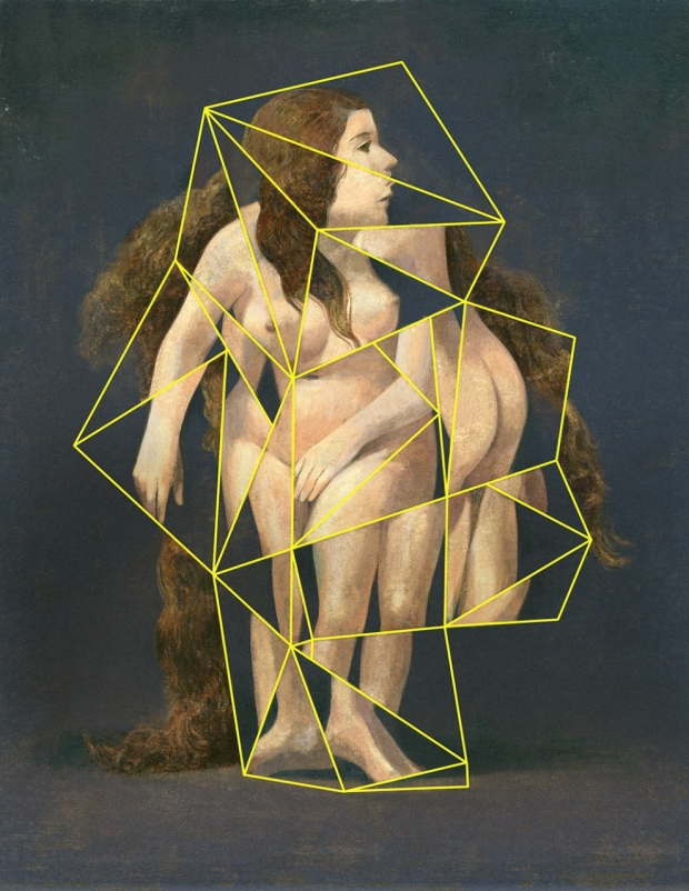Illustration of a fragmented female form