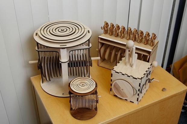 Four data sculptures created by David Schneider
