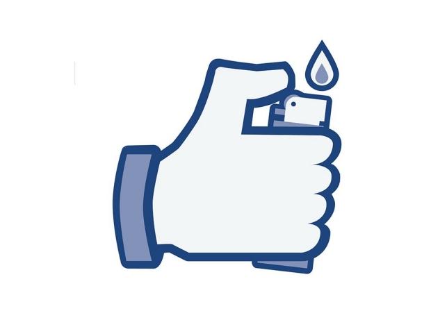 Facebook thumbs-up logo holding a lighter