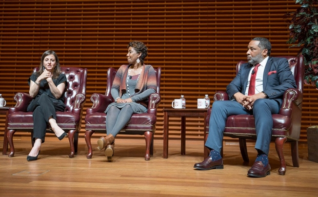 Rebecca Skloot, Jeri Lacks-Whye and Alfred Carter Jr. on a stage