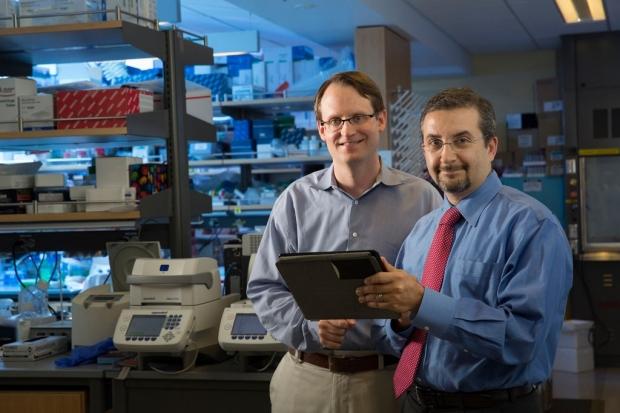 Maximilian Diehn and Ash Alizadeh in a lab