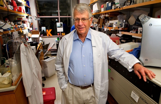 Lawrence Steinman in his lab