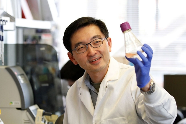 Kevin Wang in his lab