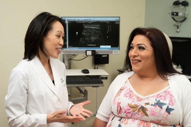 Surgeon Dana Lin and patient Karina Torres