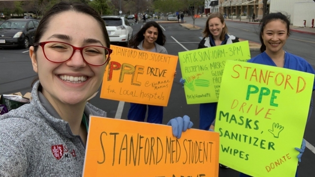 Not yet able to treat patients, Stanford medical students help caregivers