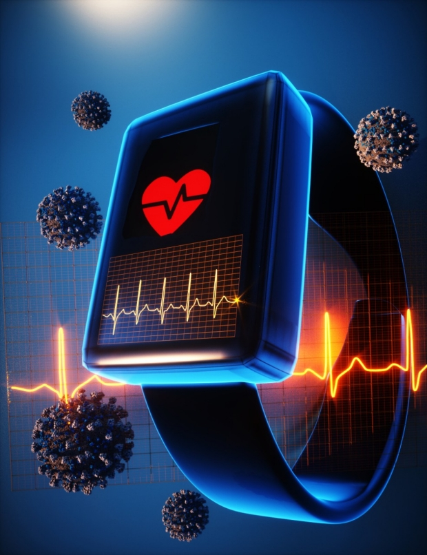 illustration smartwatch, coronavirus and electrocardiogram waves