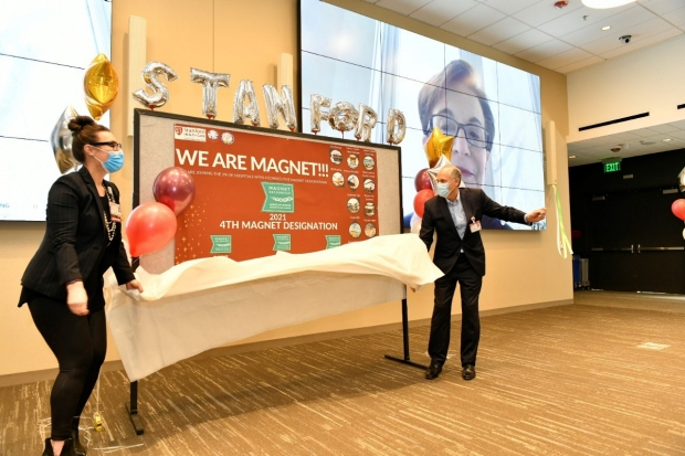 Katie Stephens and Quinn McKenna at celebration of Magnet redesignation for Stanford Health Care