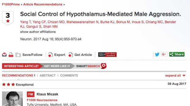 Social Control of Hypothalamus-Mediated Male Aggression