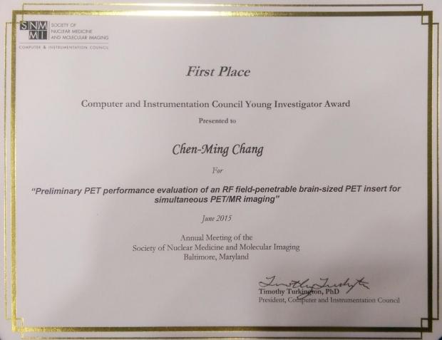 Photo of SNMMI Young Investigator Award