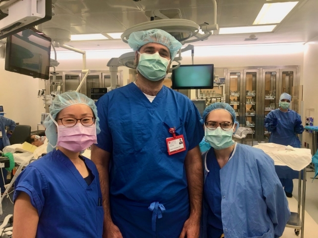 residents scrubbed up in surgery clinic