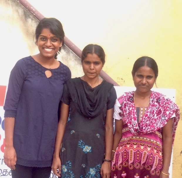 Malini Pasricha with two of the health technicians in Rayavaram