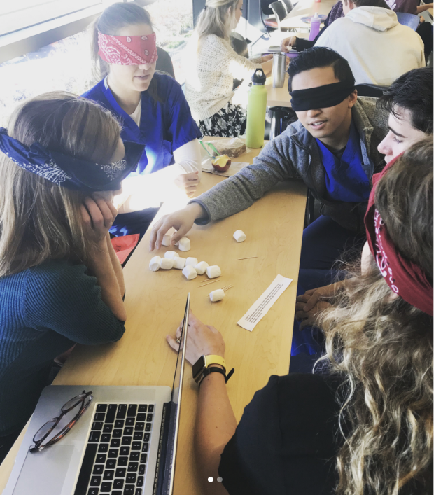 Group of blindfolded people