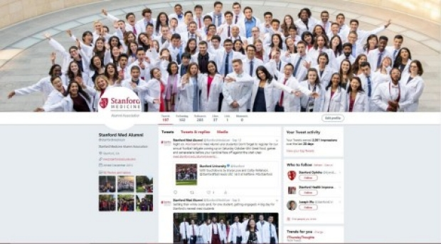 photo of twitter page for the Alumni Association