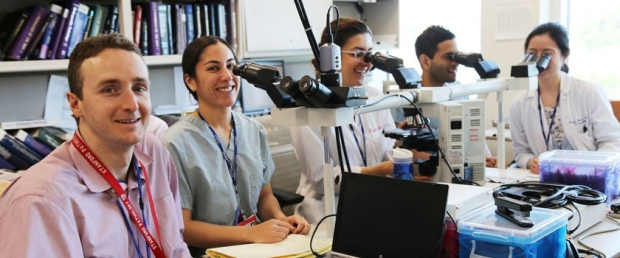 photo of residents and fellows at microscopes