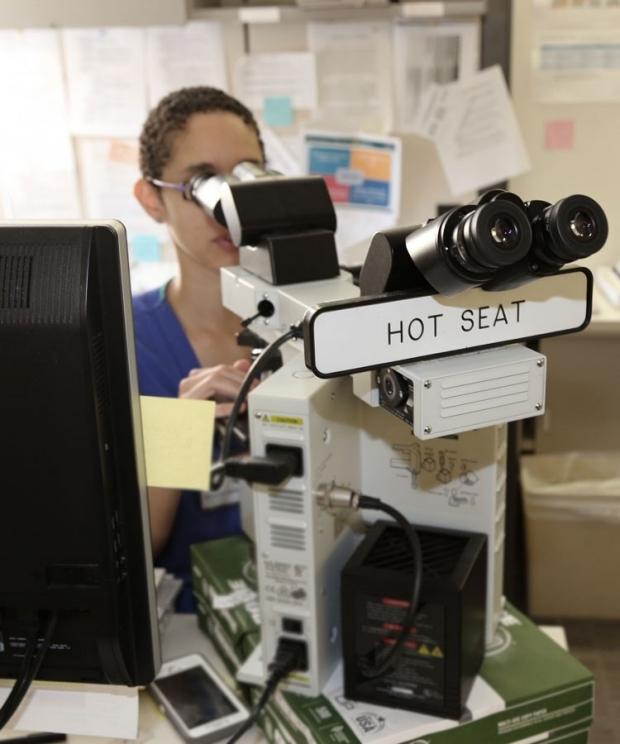 Pathologist viewing through microscope