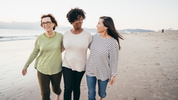 Making new connections on your retirement walks stock photo