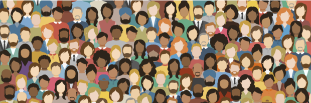 Multicultural Crowd of People. Group of different men and women. Young, adult and older peole. European, Asian, African and Arabian People. Empty faces. Vector illustration. stock illustration...
