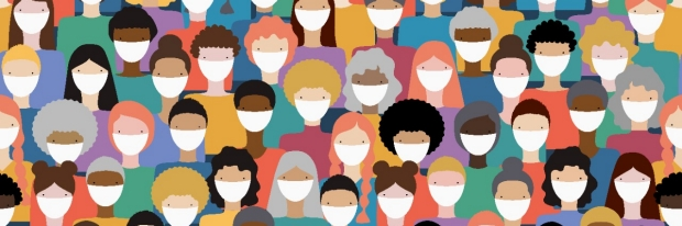 Colorful illustration of diverse people wearing masks from iStock