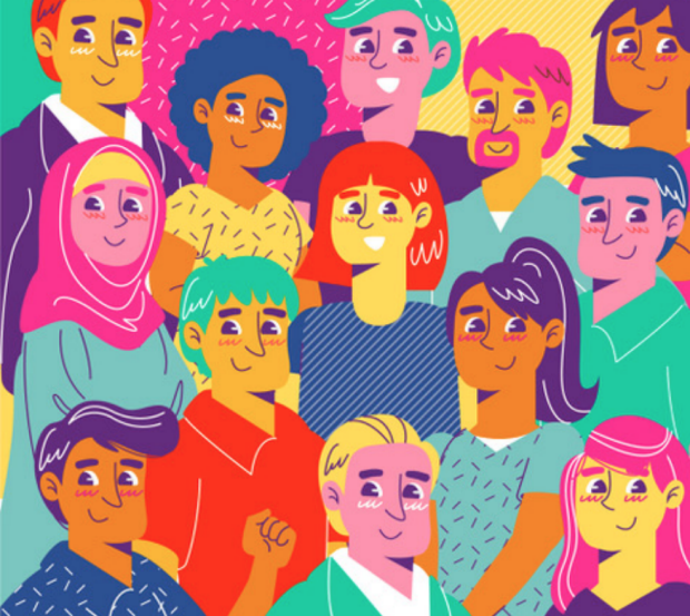 Colorful illustration of multicultural group of people