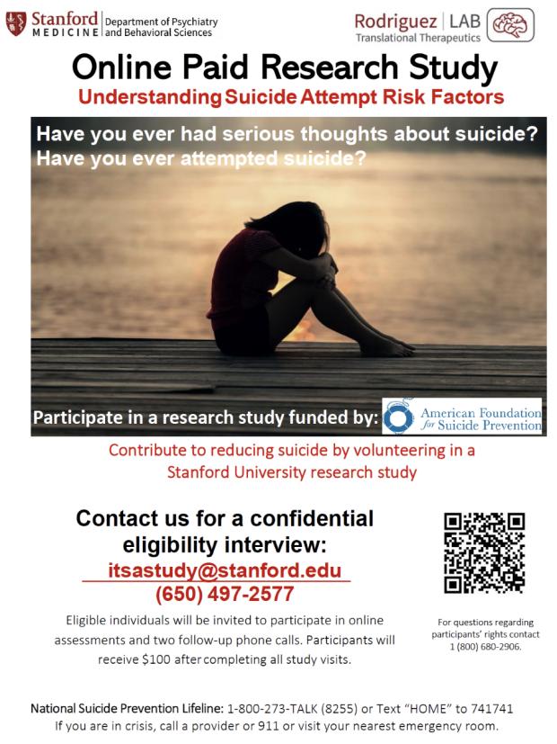Online Paid Research Study: Understanding Suicide Attempt Risk Factors